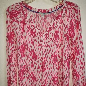 Boden Watercolor Pink & White  Longsleeved Blouse
